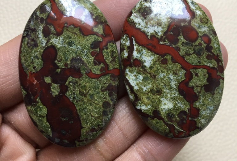 Dragon Jasper Cabochon 2 Pieces Size: 48-46 MM Approx