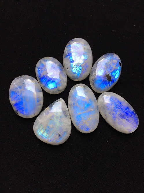 Rainbow Moonstone Cabochon 7 Piece Size: 35-29 MM Approx