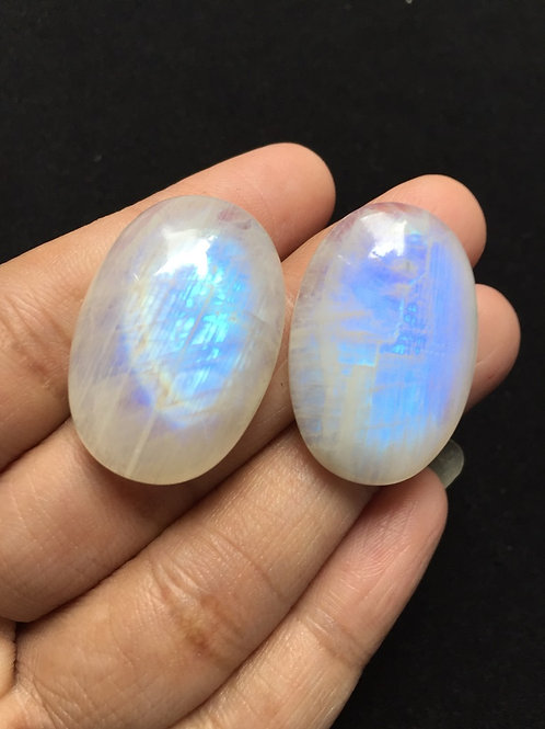 Rainbow Moonstone Cabochon 2 Piece Size: 30 MM Approx
