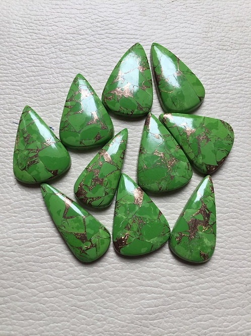 Copper Green Turquoise Cabochon 10 Piece Size: 35-34 MM Approx
