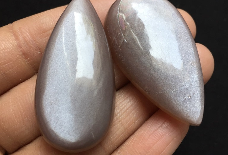 Moonstone Cabochon 2 Pieces Size: 45-44 MM Approx