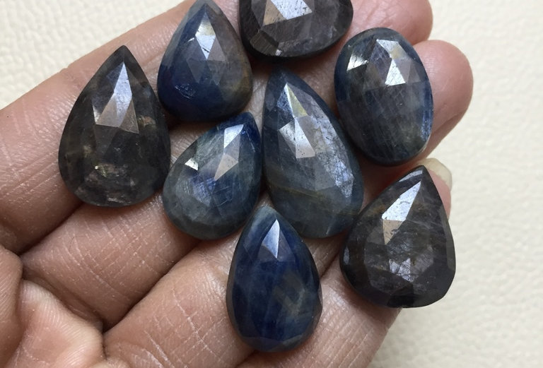 Blue Sapphire Rose cut Cabochon 8 Piece Size: 26-20 MM Approx