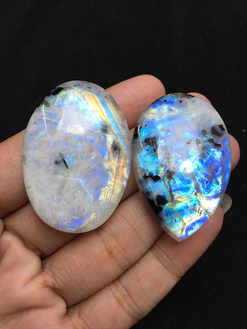 Rainbow Moonstone Cabochon 2 Piece Size:  44 MM Approx