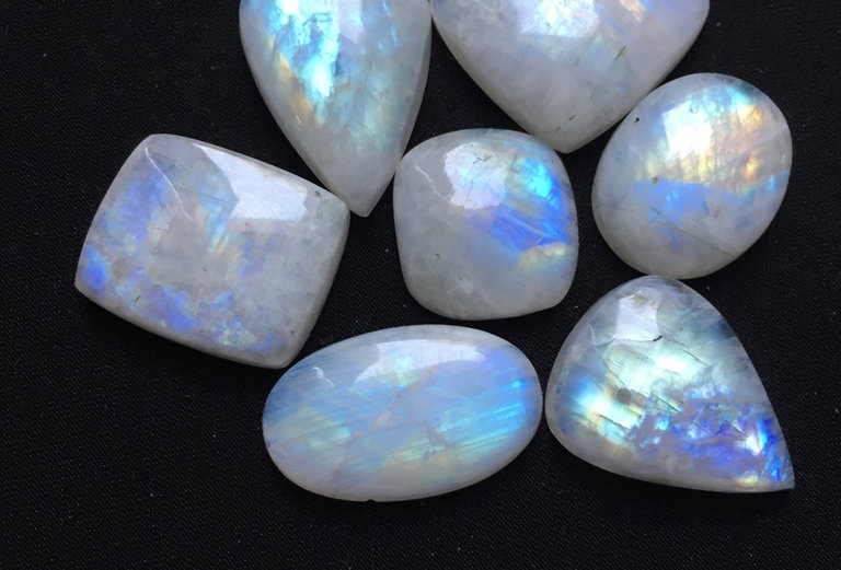 Rainbow Moonstone Cabochon 7 Piece Size: 31-21 MM Approx