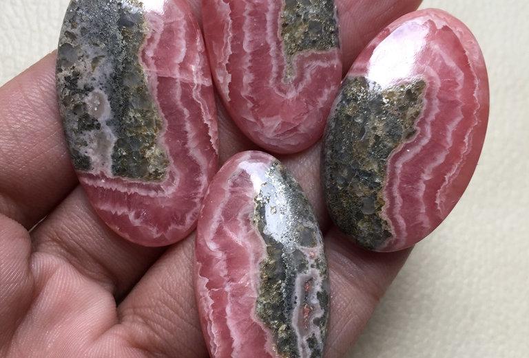 Rhodochrosite Cabochon 4 Pieces Size: 44-38 MM Approx