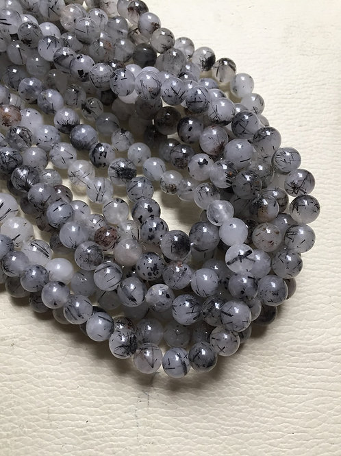 "Black Rutile Quartz 12"" 1 Strand Beads Size 10 MM Approx"