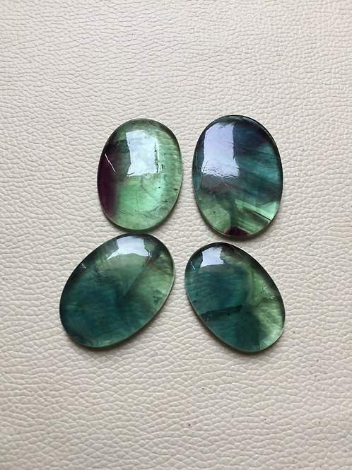 Fluorite Gemstone Cabochon 4 Piece Size 42-37 MM Approx