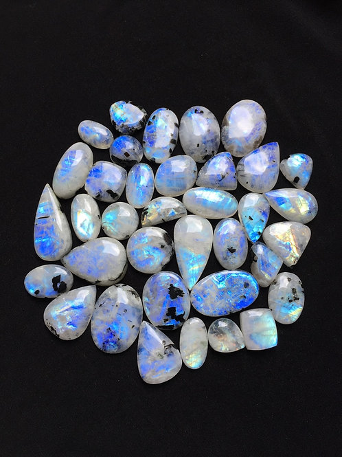 Rainbow Moonstone Cabochon 36 Piece Size: 41-18 MM Approx