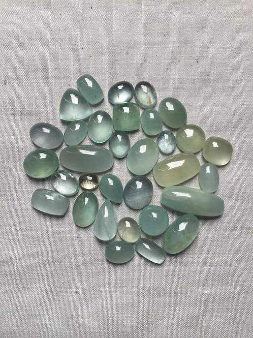 Aquamarine Cabochon 31 Piece Size: 24-8 MM Approx