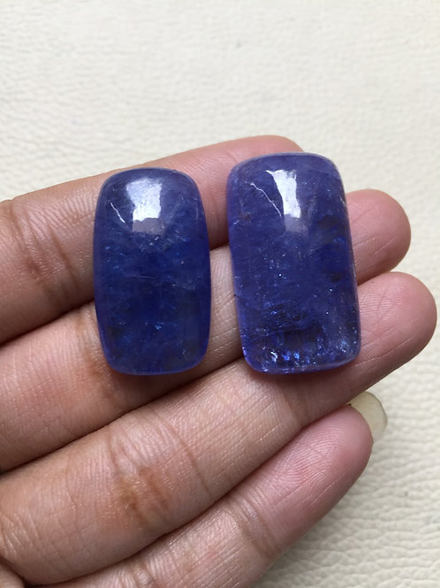 Tanzanite  Cabochon 2 Pieces Size: 31-28 MM Approx