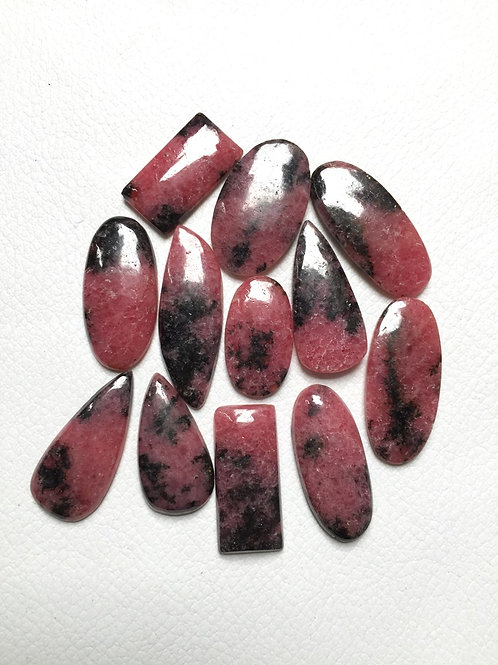 Rhodonite Cabochon 12 Pieces, Size: 28-21 MM Approx