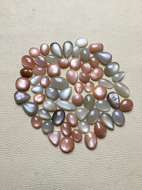 Moonstone Cabochon 62 Pieces Size: 22-12 MM Approx