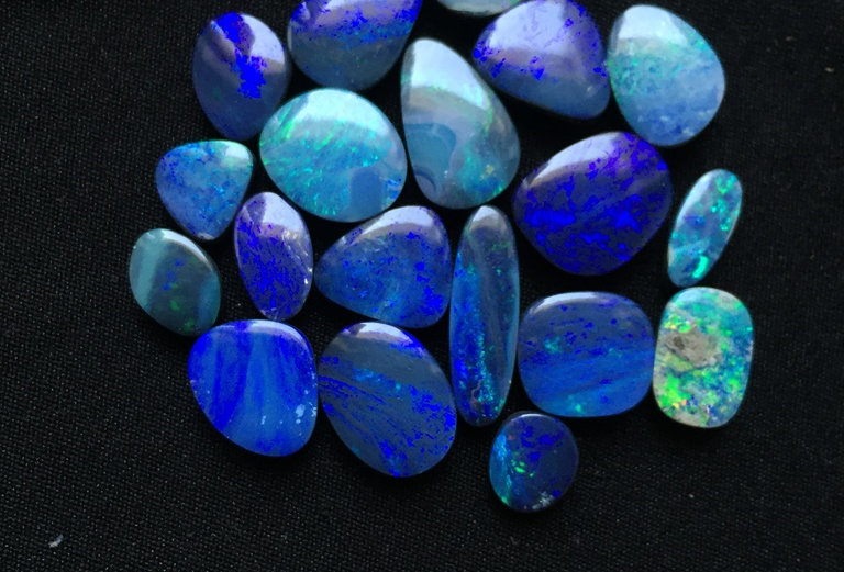 Australian Blue Doubled Opal Cabochon 19 Piece Size: 16-7 MM Approx