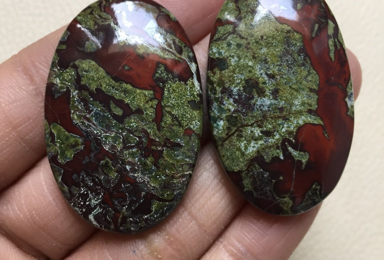 Dragon Jasper Cabochon 2 Pieces Size: 42 MM Approx