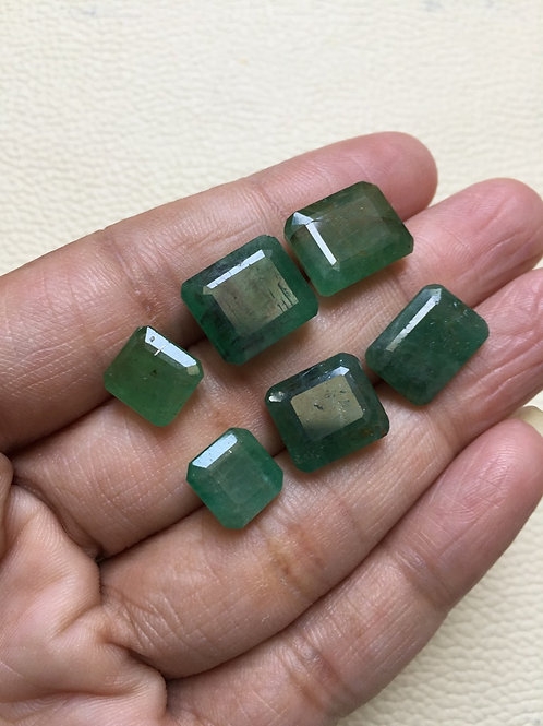 Rose Cut  Emerald Cabochon 6 Pieces Size 12-9 MM Approx