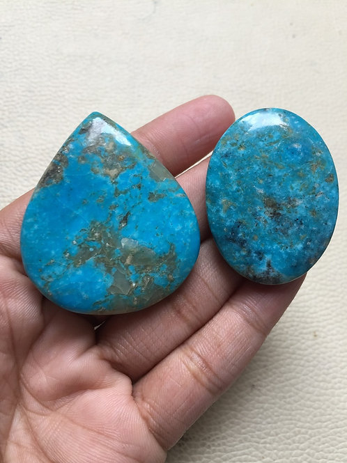 American Turquoise Cabochon 2 Piece Size: 47-41 MM Approx