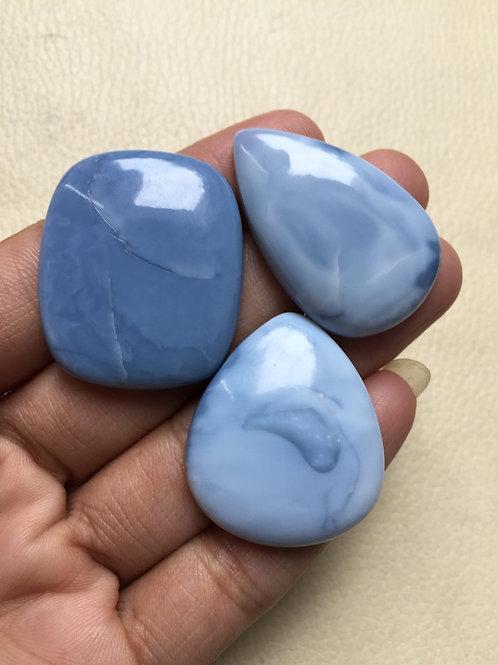 Blue Opal Cabochon 3 Piece Size: 36-33 MM Approx