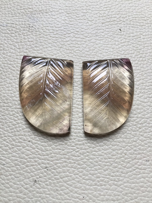 Carving  Fluorite Gemstone Cabochon 2 Piece Size 35 MM Approx