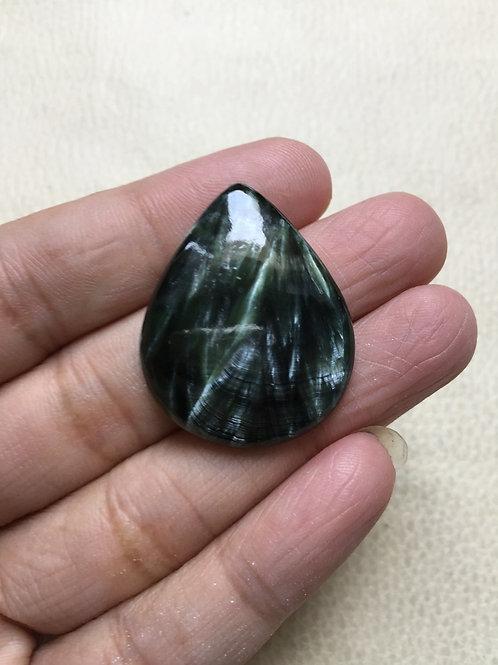 Seraphinite Stone Cabochon 1 Piece Size 32 MM Approx