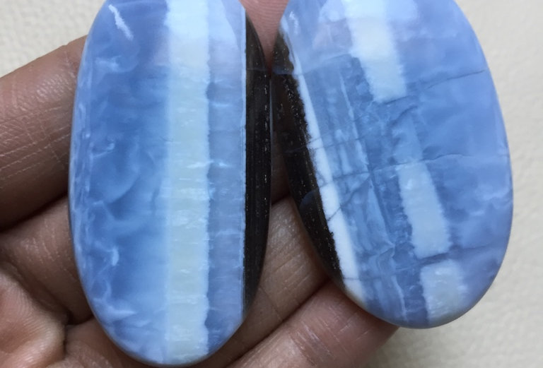 Blue Opal Cabochon 2 Piece Size: 55-53 MM Approx