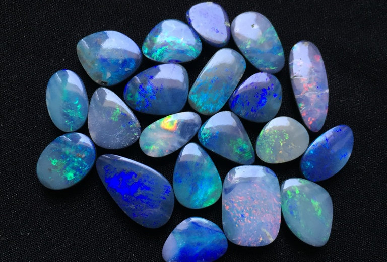 Australian Blue Doubled Opal Cabochon 19 Piece Size: 18-10 MM Approx