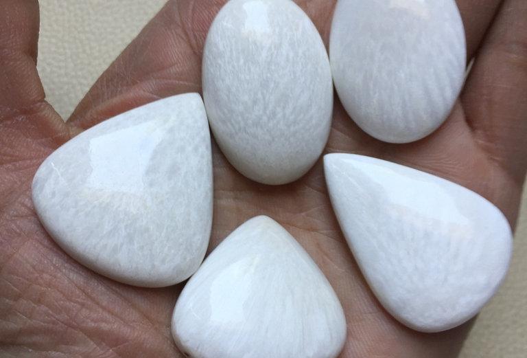 Scolecite Cabochon 5 Piece Size: 38-29 MM Approx