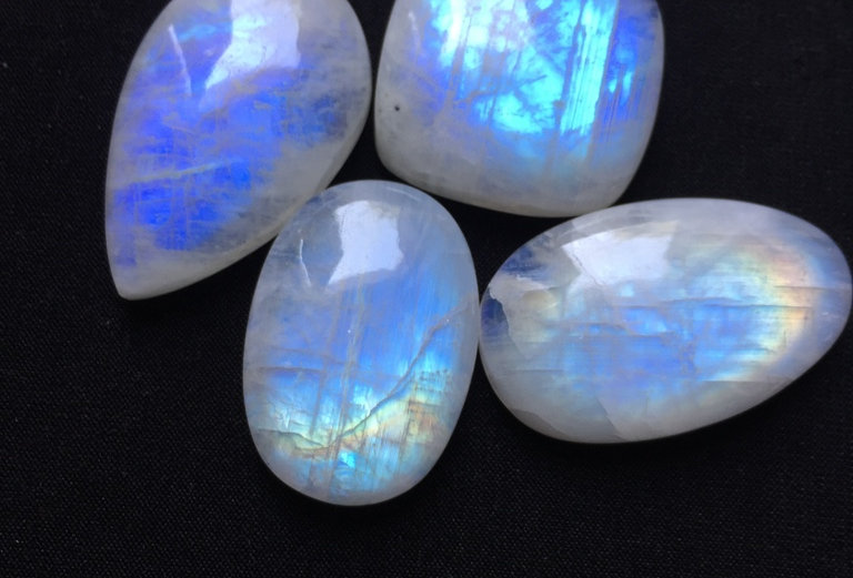 Rainbow Moonstone Cabochon 4 Piece Size: 33-25 MM Approx
