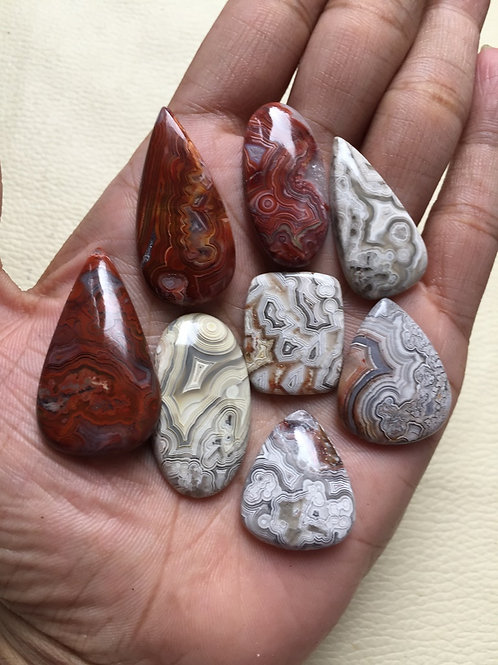 Crazy Lace Agate Cabochon 8 Piece Size: 38-23 MM Approx
