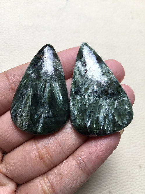 Seraphinite Stone Cabochon 2 Piece Size 45-42 MM Approx