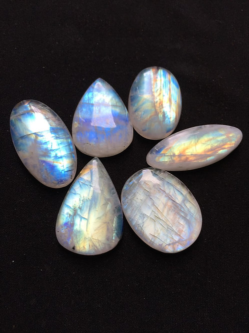 Rainbow Moonstone Cabochon 6 Piece Size: 40-30 MM Approx