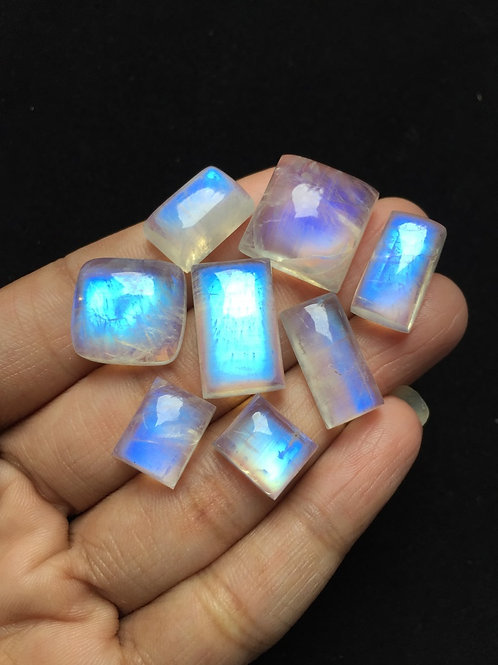 Rainbow Moonstone Cabochon 8 Piece Size: 20-12 MM Approx