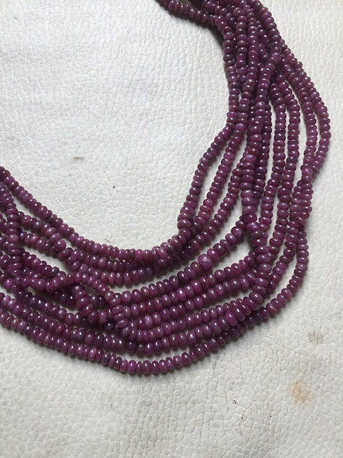 "Ruby necklace  24""  Beads Size 2-4 MM Approx."