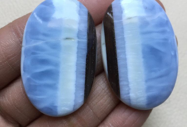 Blue Opal Cabochon 2 Piece Size: 42 MM Approx