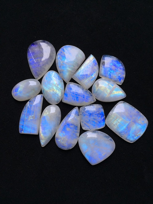 Rainbow Moonstone Cabochon 14 Piece Size: 34-20 MM Approx