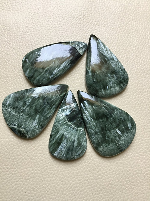 Seraphinite Stone Cabochon 5 Piece Size 49-48 MM Approx