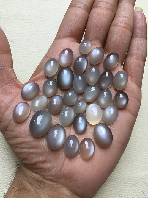 Grey Moonstone Cabochon 30 Piece Size: 16-11 MM Approx