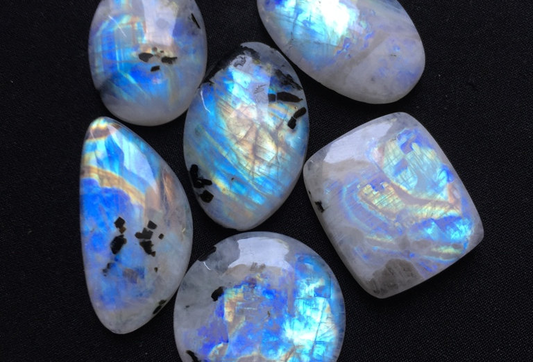 Rainbow Moonstone Cabochon 6 Pieces Size: 36-27 MM Approx
