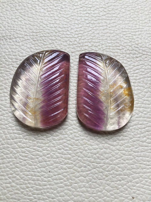 Carving  Fluorite Gemstone Cabochon 2 Piece Size 36 MM Approx