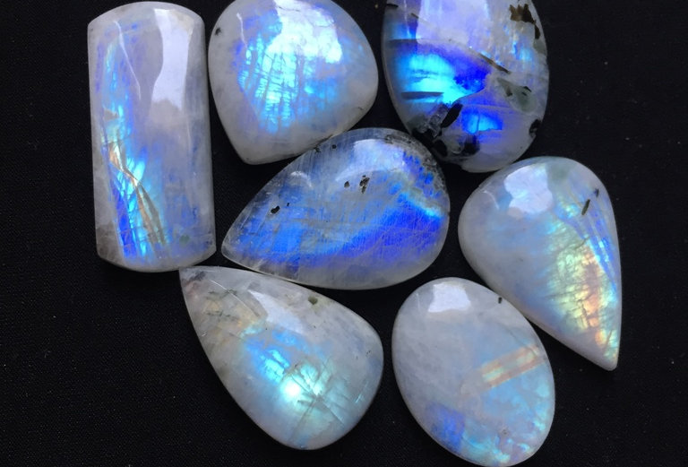 Rainbow Moonstone Cabochon 7 Piece Size: 39-26 MM Approx