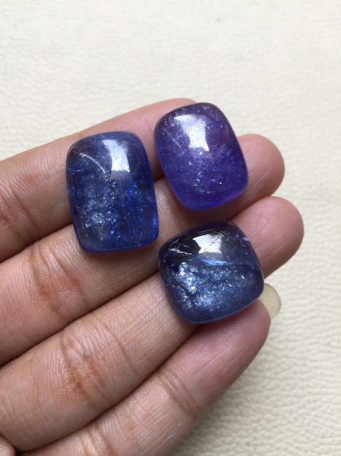 Tanzanite  Cabochon 3 Pieces Size: 22-18 MM Approx