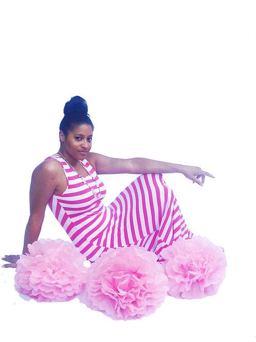 Pink and White Stripe Maxi Dress