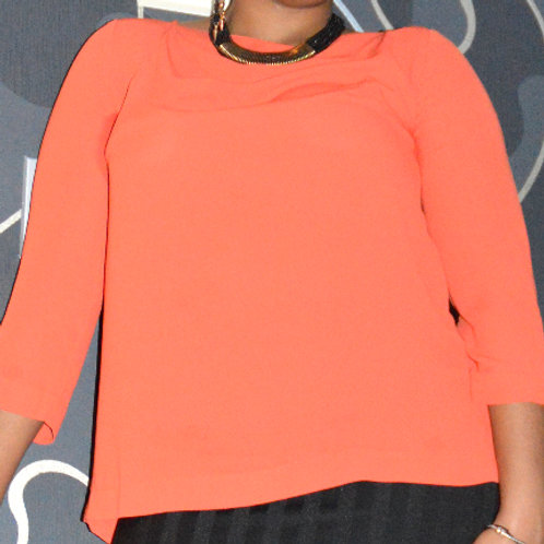 Orange 3/4 length sleeve top with cross back
