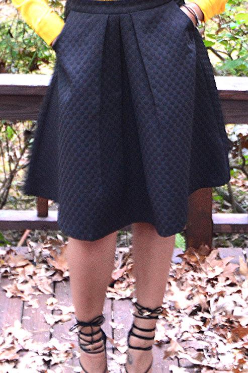Black A-Line Flare Skirt
