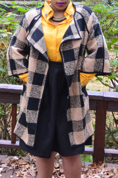 Taupe and black plaid jacket