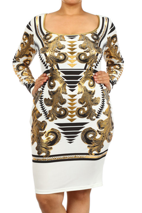 Gold Long Sleeve Bodycon Dress