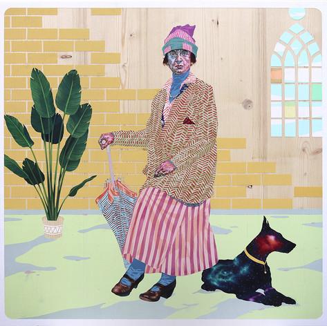 Madame Bijoux (2020), olio, acrilico e foglia d'oro, 60x60 cm