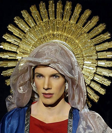 Actor Michael Kovalik as the Virgin Mary in Move Closer a film by Diana Hope Tegenkamp