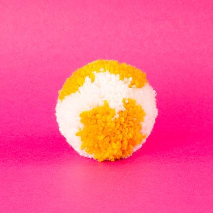 pompon żółty z białym