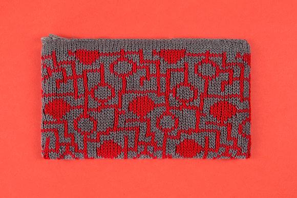 portmonetka szara w czerwony ukł