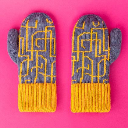 rękawiczki w żółte łamane linie